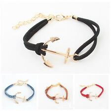 Women Men Multilayer Leather Handmade Cuff Wristband Anchor Bracelet Bangle LY