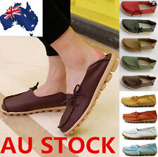 Womens Leather Comfort Casual Walking Bowed Flat Shoes Loafers Moccasin Shoes
