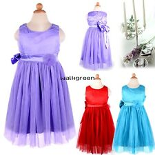 Lovely Baby Kids Toddlers Girl Princess Big Bowknot Pleated Dress Outfit WN