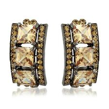Chunky Square Cut Drop Earrings  Amber and Champagne Colours Swarovski Elements