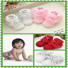 1 Pairs Girl Newborn Baby Socks Non-slip Cotton Warm Bowknots Booties Sock QIN