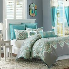 Luxury Teal & Grey Updated Paisley Comforter Set AND Decorative Pillows