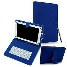 """For Android 8"""" Tablet Universal Kickstand PU Leather USB Keyboard Box Case Blue"""