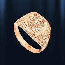 Russian solid rose gold 585 /14k Mens RING the State Emblem of Russia !! NWT.