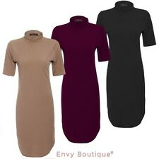 Ladies Womens Rib Curved Hem Dress Long Top Midi Tunic Short Sleeve Dress