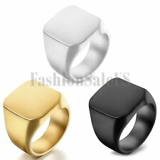 New Polished Silver Black Gold Tone Biker Signet Stainless Steel Ring Mens Band