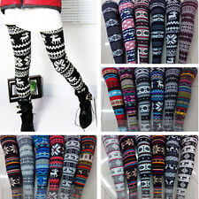 Sexy Warm Winter Deer Snowflake Knitted Leggings Women Pants Trousers New w03