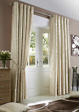 Pair of Cream Midtown Embroidered Faux Silk Fully Lined Eyelet Curtains BNIP