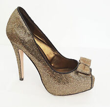 MISS SELFRIDGE SIZE 4 GOLD GLITTER PLATFORM 5 IN HEELS BOW SHOES PARTY BLING £50
