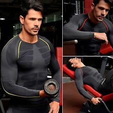 Men Compression Armour Base Layer Top Sport Tights Thermal Long Sleeves T-shirts