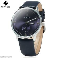 Water Resistant Quartz Watch Leather Band Calender Sub-dial Luminous Hands