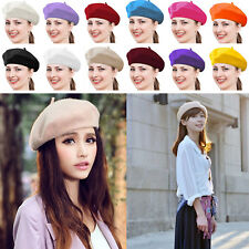 Vintage Unisex Men Women Wool Warm Beret Beanie Hat Cap French Style Colorful