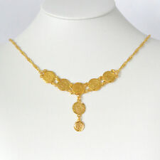 """Coin Necklace 24k Gold Plated Arabic Middle East Coin Jewelry Size 15 - 24"""""""