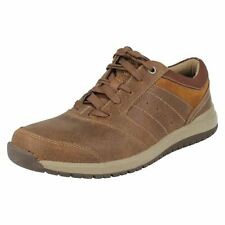 CLARKS MENS TAN COMBI LEATHER CASUAL LACE UP SHOES - RYLEY STREET - G FITTING