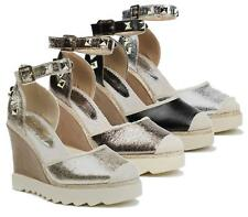 NEW WOMENS GRIP SOLE FLAT HIGH ESPADRILLE WEDGE BUCKLE STUDDED STRAP SUMMER SHOE