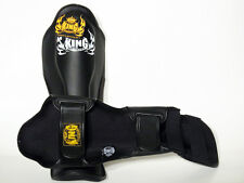TOP KING GENUINE LEATHER MUAY THAI SHIN GUARDS- TKSGP-BLACK - LEATHER -DURABLE!