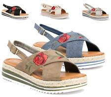 WOMENS LADIES STITCHED ROSE ESPADRILLE FLAT SOLE SANDALS SLINGBACK SHOES SIZE