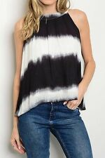 NEW Womens Sleeveless Black White Striped Tie Dye Ruched Blouse Tank Top S M L