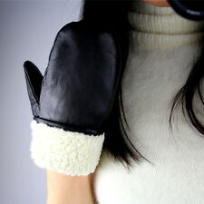 Real Leather Unisex Gloves Wrist Black Mittens Mitts Patchg Fleece Faux Shearlin