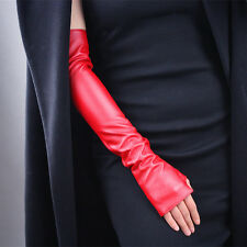 Fingerless Gloves Faux Leather Arm Warmer Long Hot Red Sun UV Cosplay Costume