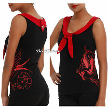 NEW 1950'S ROCKABILLY RETRO SPARROW BIRD SAILOR TANK TOP RED/BLACK HOT TOPIC EXC