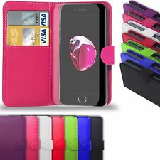 Leather Flip Wallet Case Cover For All Apple iPhone & FREE Screen Protector