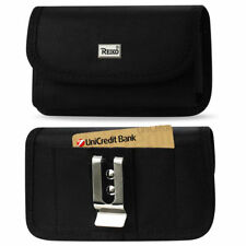 Reiko Heavy Duty Rugged Canvas Metal Belt Clip Case Card Slot for LG Cell Phones