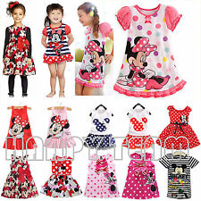 Kids Baby Girls Mickey Minnie Mouse Party Dress Summer Skirt Toddler Clothes New