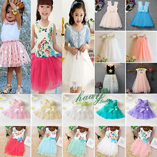Toddler Kids Baby Girls Princess Floral Pageant Wedding Party Tulle Tutu Dress