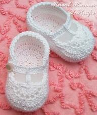 Crochet T-Straps Newborn Infant Baby/Reborn Doll Booties Christening Baptism