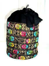 Gorgeous Ethnic/Boho Embroidered Drawstring tassel  pouch bag /multi use