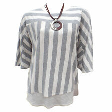 Womens Ladies New Saloos Grey/Beige Stripe Top With Brown Necklace Size 12-22