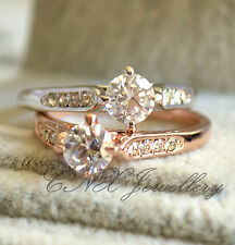 18K White Rose Gold GP Classic Diamond Crystal Wedding Engagement Ring All Size