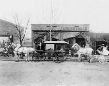 Horse Drawn Hearse At Undertaker 1890s 8x10 Reprint Of Old Photo