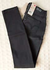NWT LEVI'S Skinny Jeans 524 GRAY Black Fade Distressed Knee Ultra Low Rise Levis
