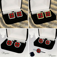 MACDUFF SCOTTISH CLAN TARTAN MEN'S CUFFLINKS / TIE SLIDE SET GIFT ENGRAVING