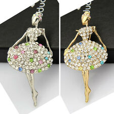 Pretty Girl Lovely Dancing Ballet Girl Diamante Rhinestone Brooch/Brooches Pins