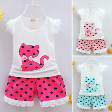 Summer Baby Kids Child Girls T-Shirt Tops+Shorts Casual Outfits Clothes 2Pcs Set