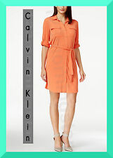 CALVIN KLEIN NEW Flap Pocket Long Sleeve Polyester Solid Orange Mini Shirt Dress
