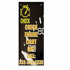 Check Engine Light On? Custom Number Double Sided Vertical Pole Banner Sign