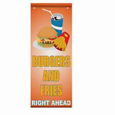 Burger And Fries Right Ahead Light Orange Double Sided Vertical Pole Banner Sign