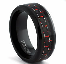 Titanium Mens Ring, Red Carbon Fiber Inlay 8mm Comfort fit Wedding Band