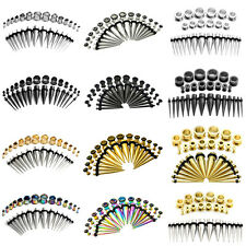 28pcs Stainless Steel Tapers Stretcher Kit + Ear Tunnel Plug Lot 12G-00G/8G-1/2""