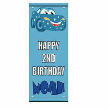 Happy 2Nd Birthday Boy Cars Custom Double Sided Vertical Pole Banner Sign