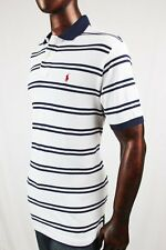 POLO Ralph Lauren Mesh Classic Fit Polo White And Navy Stripes ~NWT~