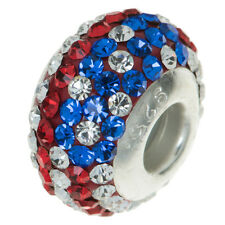 Sterling Silver Round USA Flag Ferido Crystal Bead For European Charm Bracelets