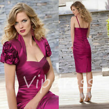 Purple Red Mother Of The Bride Dresses Flowers Cap Sleeve Jackets Formal Gowns