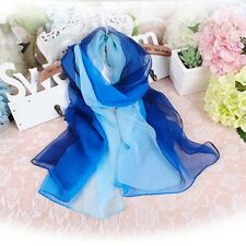 Pretty Lady Gradient Color Chiffon Georgette Scarf Long Wrap Shawl Beach Scarf
