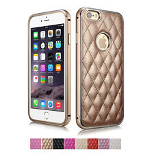 Luxury Leather Plaid Pattern Aluminum Bumper Case back cover for iphone 6/6s 5.5