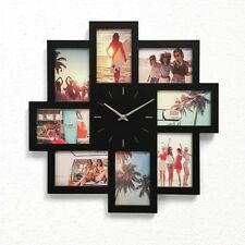 Wall Clock Multi Photo Frame 8 openings Home Decor Gift BLACK / WHITE NEW